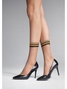 Marilyn CHARLY S52 носки в мелкую сетку с золотым люрексом