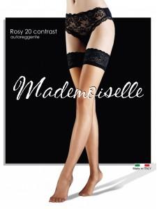 Mademoiselle Rosy 20 чулки на силиконе с контрастной резинкой