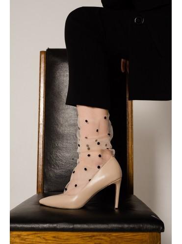 Tulle Socks Black dots on beige NK (фатиновые носочки)